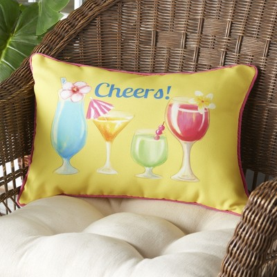 Lakeside Colorful Cheers Summer Cocktails Outdoor Patio Chair Accent Pillow