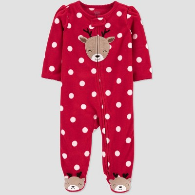 Baby Girls' Reindeer with Dots Fleece Sleep N' Play - Just One You® made by carter's Red 9M