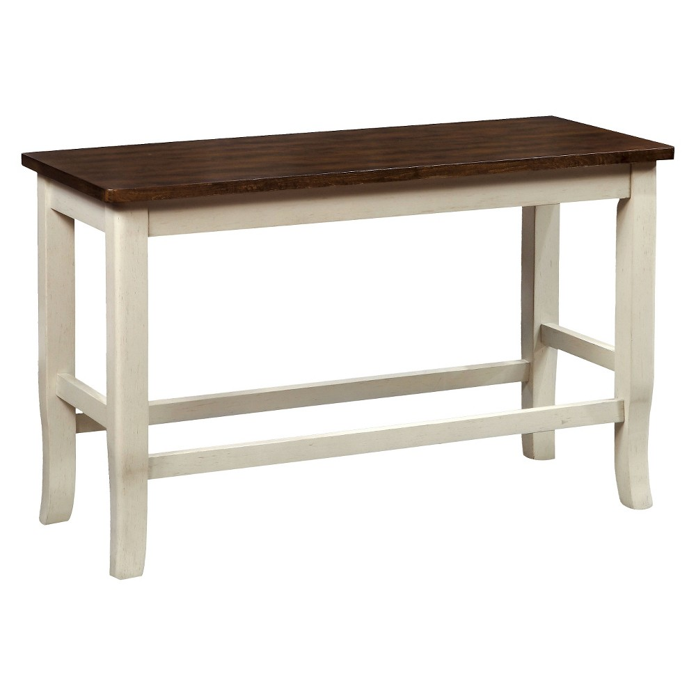 Sun & Pine Sheldon Wooden Two-tone Counter Height Bench, Antique White