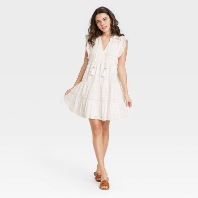 Women's Short Sleeve Peasant Dress - Knox Rose™ Red
