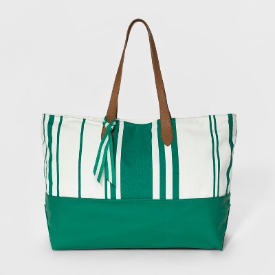 9fd9afc618db Canvas Striped Oversized Tote Handbag – A New Day™ Green – Target ...