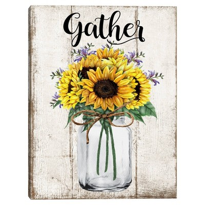 Gather Sunflowers By Deborah Bown Wrapped Unframed Canvas Art Print - Masterpiece Art Gallery