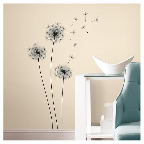 14 WHIMSICAL DANDELION Peel and Stick Wall Decal Black - ROOMMATES - image 1 of 3
