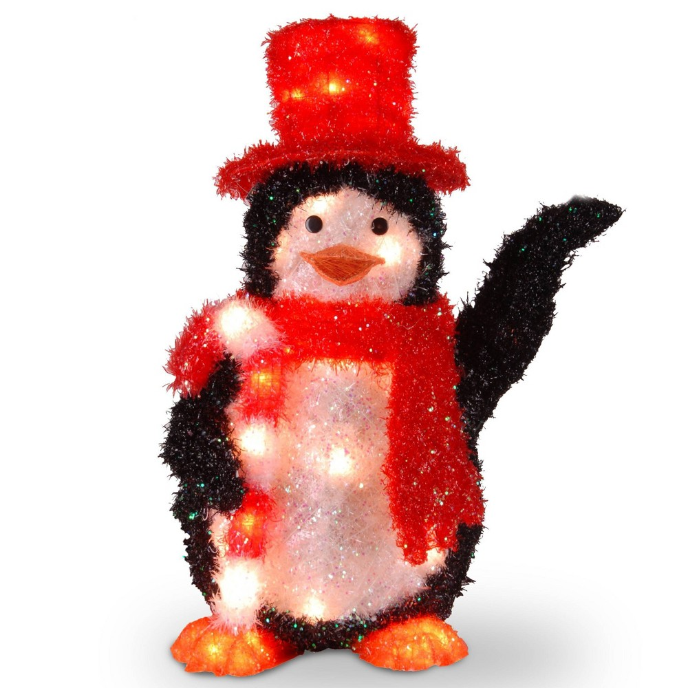 "Image of ""22"""" Tinsel Penguin with Candy Cane with 35 Clear Indoor/Outdoor Lights - National Tree Company"""
