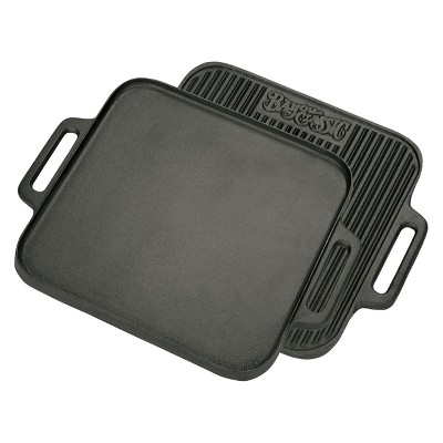 Bayou Classic Cast Iron 14in Reversible Square Griddle