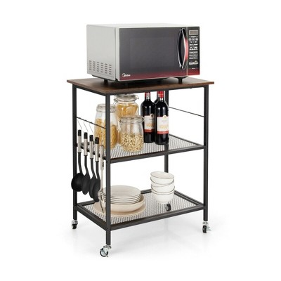 Costway 3-Tier Kitchen Serving Cart Utility Standing Microwave Rack w/ Hooks