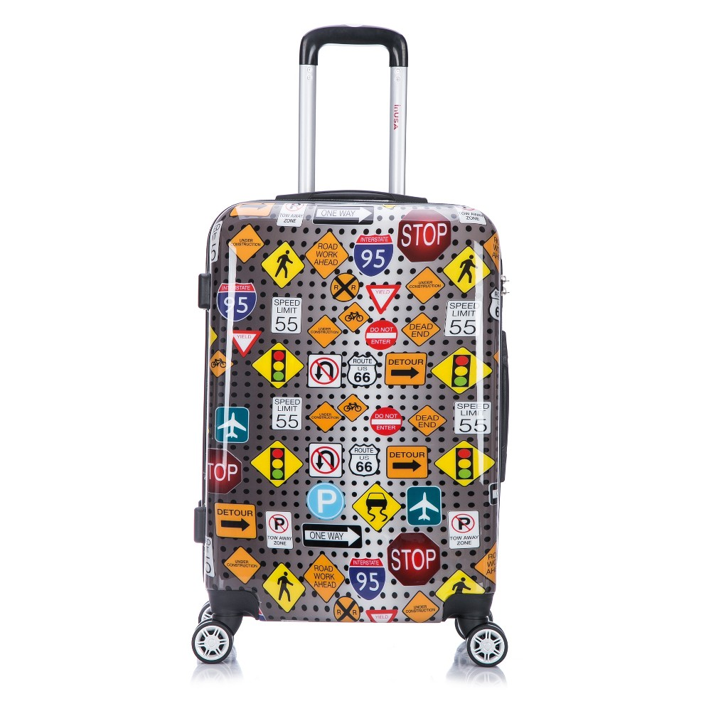 InUSA Prints 24 Hardside Spinner Suitcase - Signs, Multi-Colored