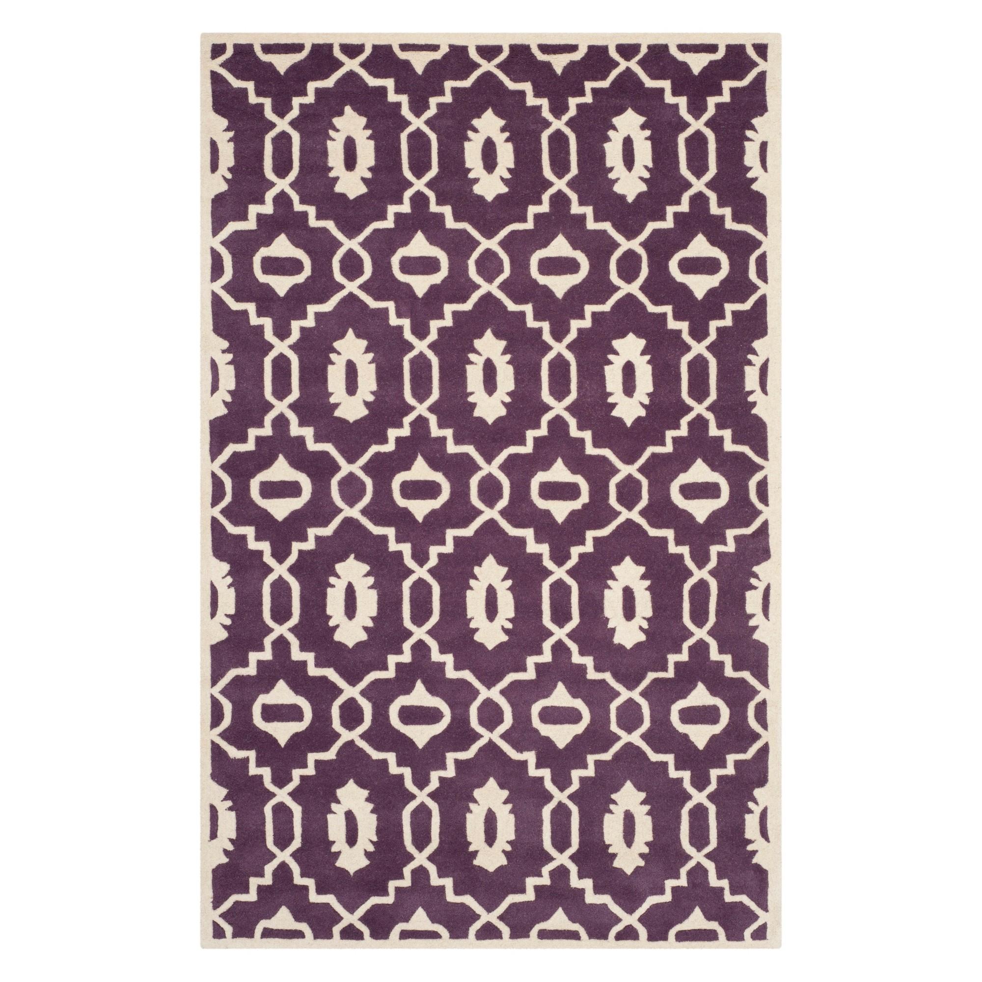6'X9' Geometric Area Rug Purple/Ivory - Safavieh