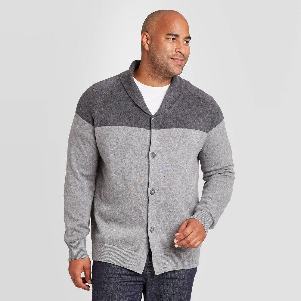 Men's Vintage Sweaters History Mens Tall Colorblock Regular Fit Button-Down Shawl Sweater - Goodfellow  Co Dark Gray XLT $20.99 AT vintagedancer.com