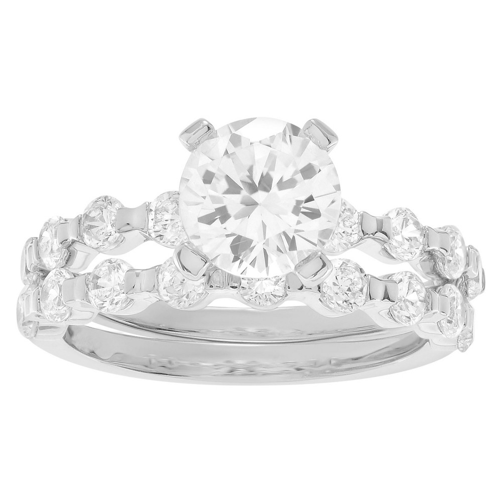 3 1/2 CT. T.W. Round-cut CZ Prong Set Wedding Ring Set in Sterling Silver - Silver, 5, Girl's