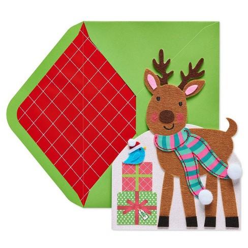 Papyrus Diecut Reindeer Greeting Card - image 1 of 4