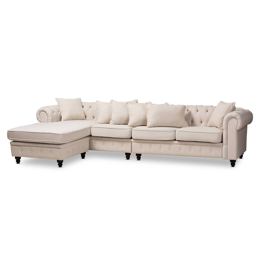 Luisa Fabric Upholstered Chesterfield Reversible Sectional Sofa Beige - Baxton Studio