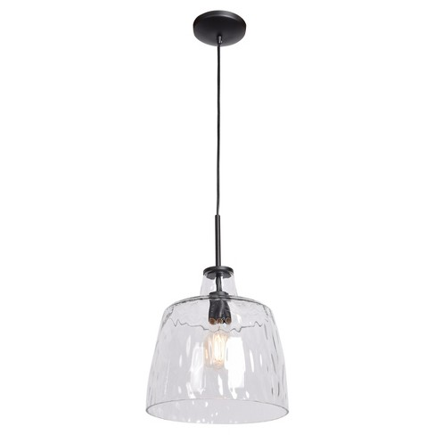 Simplicite Round Pendant - Black - Clear Wavy Glass Shade - image 1 of 2