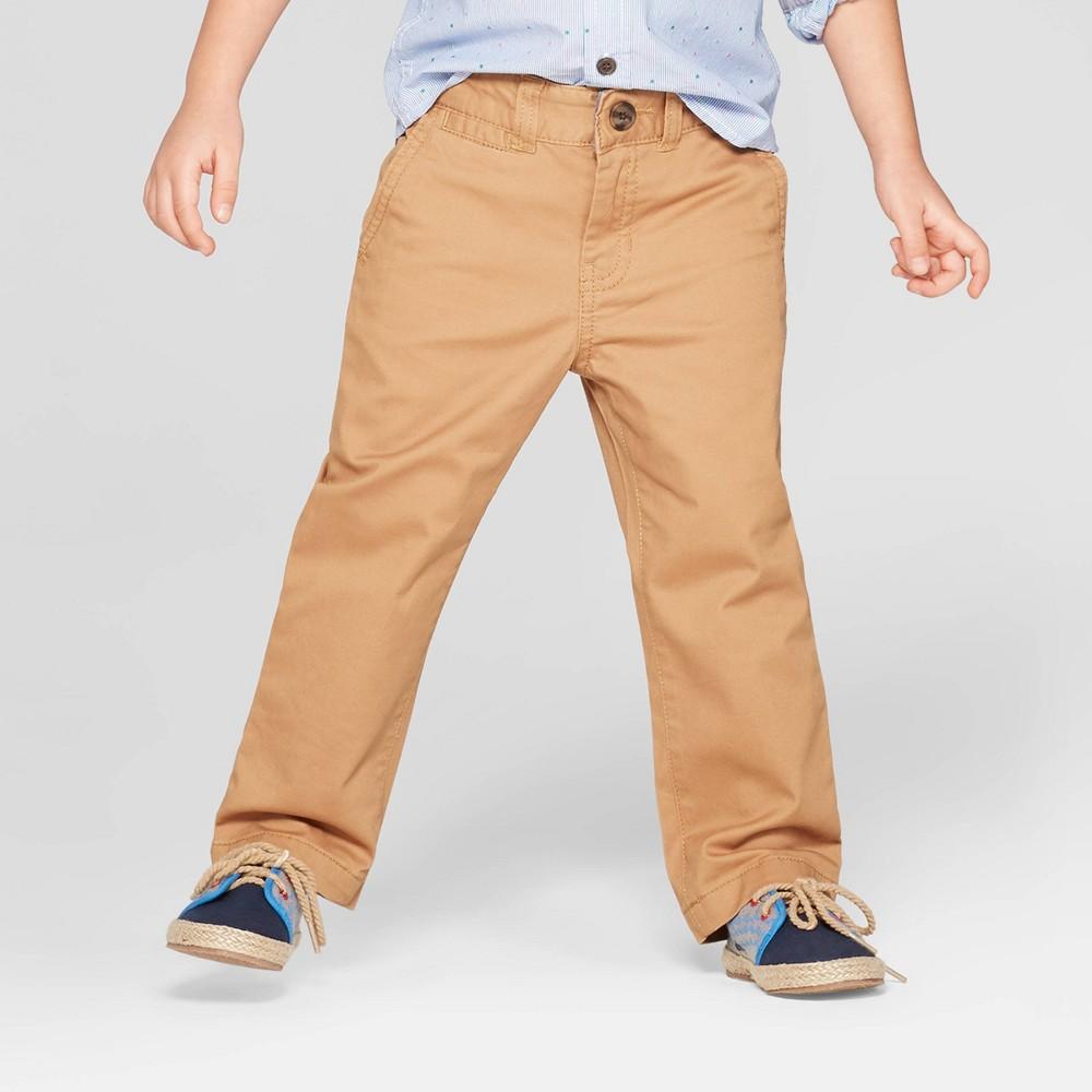 Toddler Boys' Flat Front Chino Pants - Cat & Jack Tan 4T, Brown