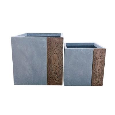 Set of 2 Kante Lightweight Modern Outdoor Concrete Square Planters Timber Ridge - Rosemead Home & Garden, Inc.