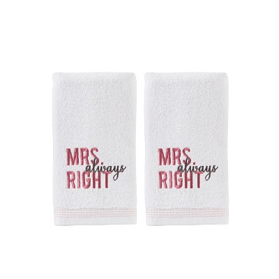 2pc Mrs Always Right Hand Towel Bath Towels Sets White - Saturday Knight Ltd.