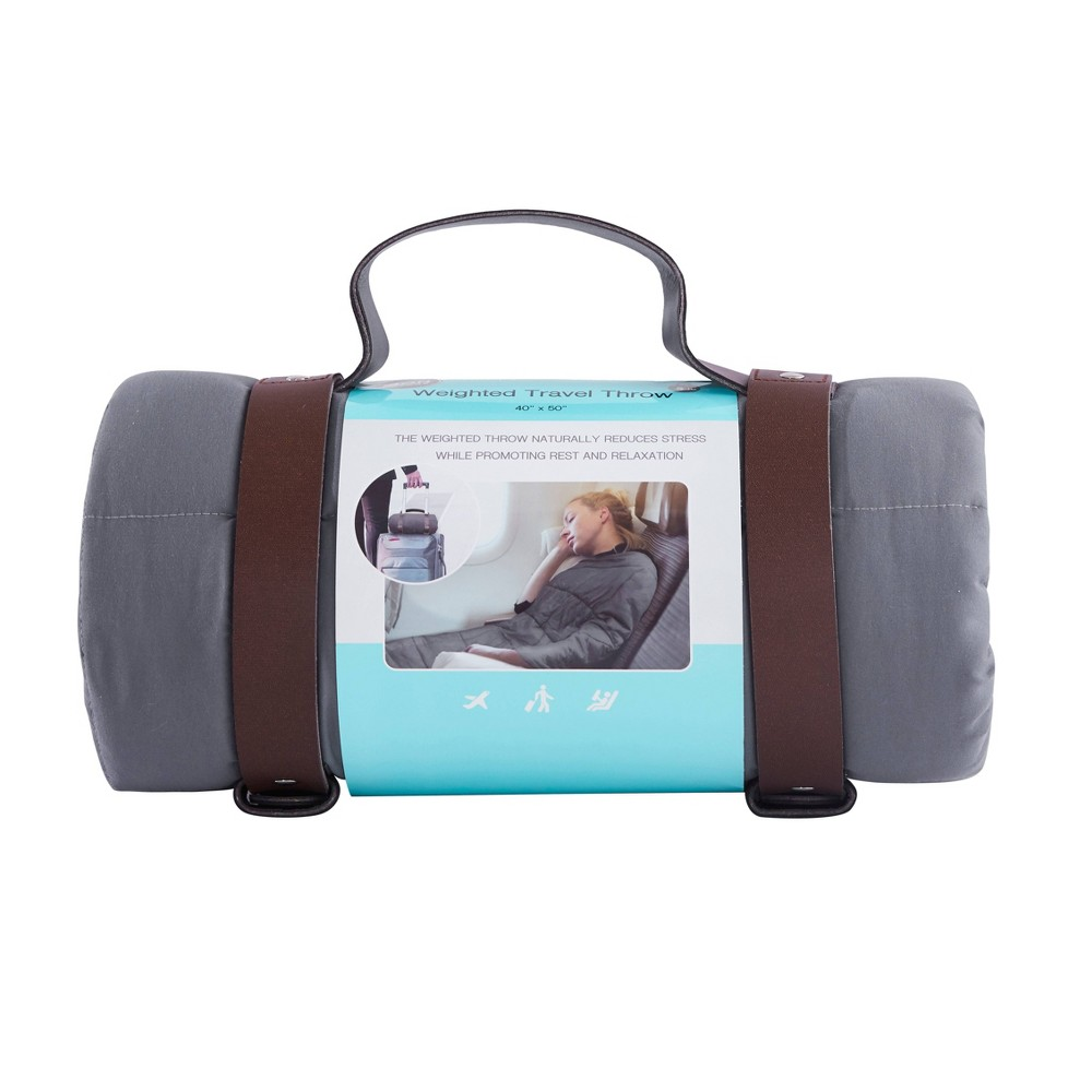 """Image of """"40""""""""x50"""""""" Solid Microfiber Weighed Travel Throw Gray - Bon Voyage"""""""