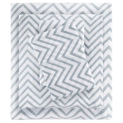 Queen Cotton Blend Jersey Knit All Season Sheet Set Gray Chevron