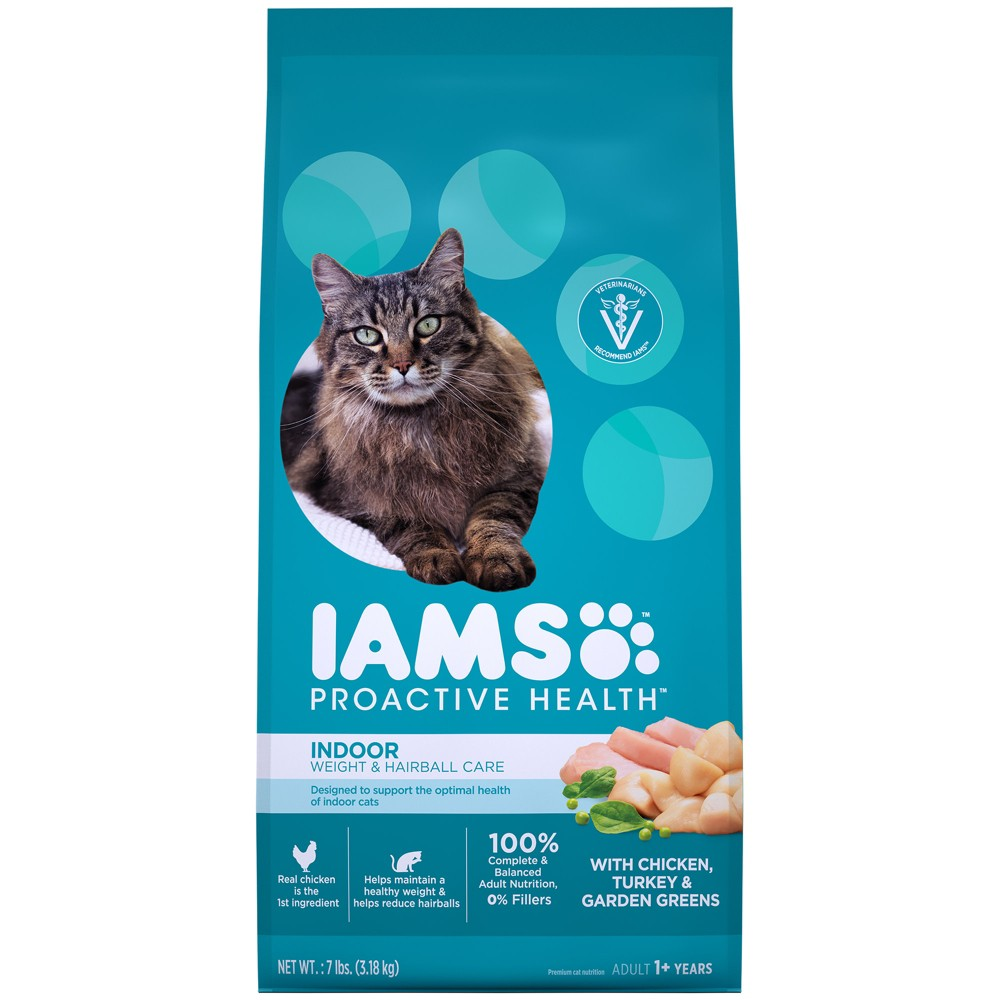 Iams ProActive Health Indoor Weight & Hairball Care Dry Cat Food - 7lbs