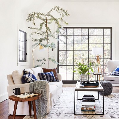 Classic Traditional Neutral Tone with Blue Accents Living Room styled by Emily Henderson