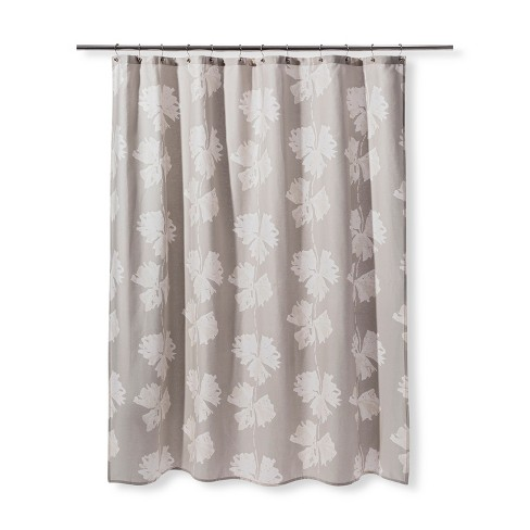 Floral Print Shower Curtain Gray Cream