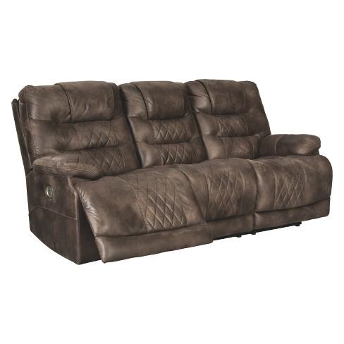 Welsford Power Reclining Sofa With Adjustable Headrest Walnut Brown