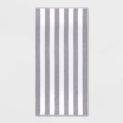 Cabana Striped Beach Towel Gray - Sun Squad™