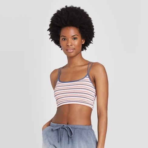 Women's Striped Unlined Strappy Bralette - Colsie™ White/Blue/Orange M - image 1 of 3