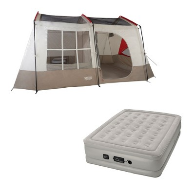 Wenzel Kodiak 9-Person Family Camping Tent w/ Insta-Bed Queen Air Mattress Pump