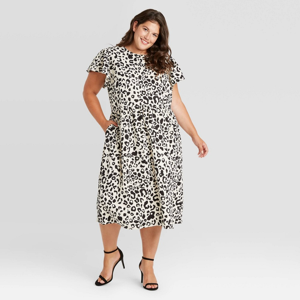 80s Dresses | Casual to Party Dresses Womens Plus Size Leopard Print Flutter Short Sleeve Dress - Who What Wear White 3X $36.99 AT vintagedancer.com