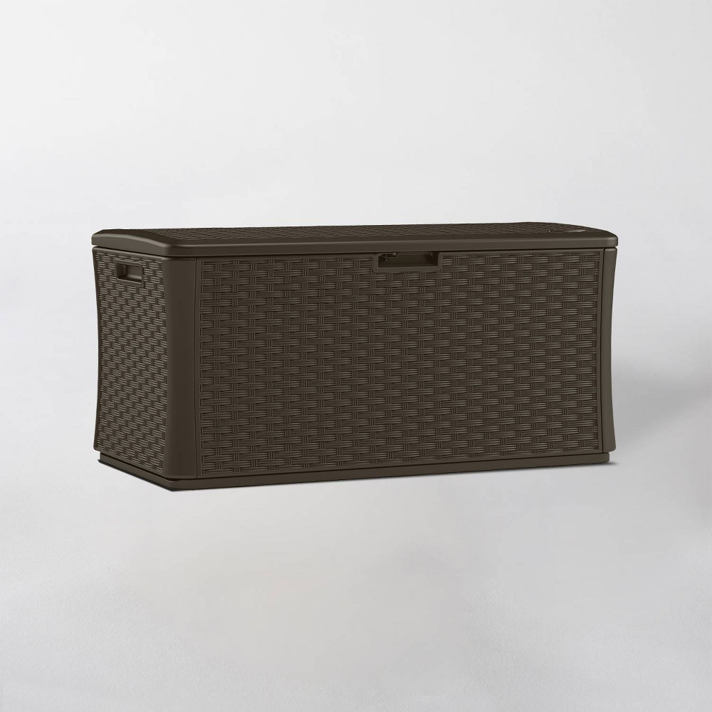 Image of 134gal Resin Java Wicker Deck Box Brown - Suncast