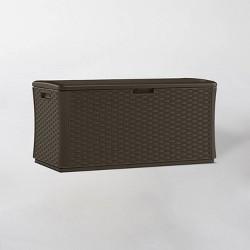 134gal Resin Java Wicker Deck Box Brown - Suncast