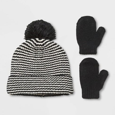 Baby Boys' Beanie & Mittens Set - Cat & Jack™ Black 12-24M - image 1 of 1