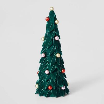 17in Velvet Christmas Tree Decorative Figurine Green - Wondershop™