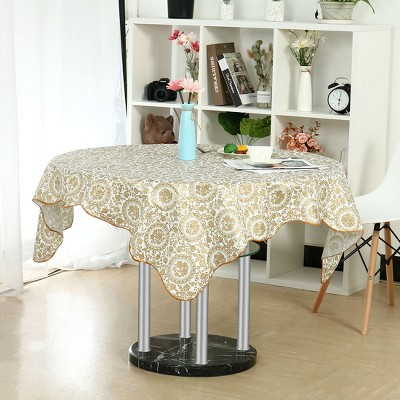 """60"""" Dia Round Vinyl Water Oil Resistant Printed Tablecloths Golden Turntable Flower - PiccoCasa"""