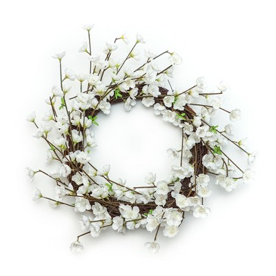 Artificial Floral Wreath White 18 x18  - Lloyd & Hannah