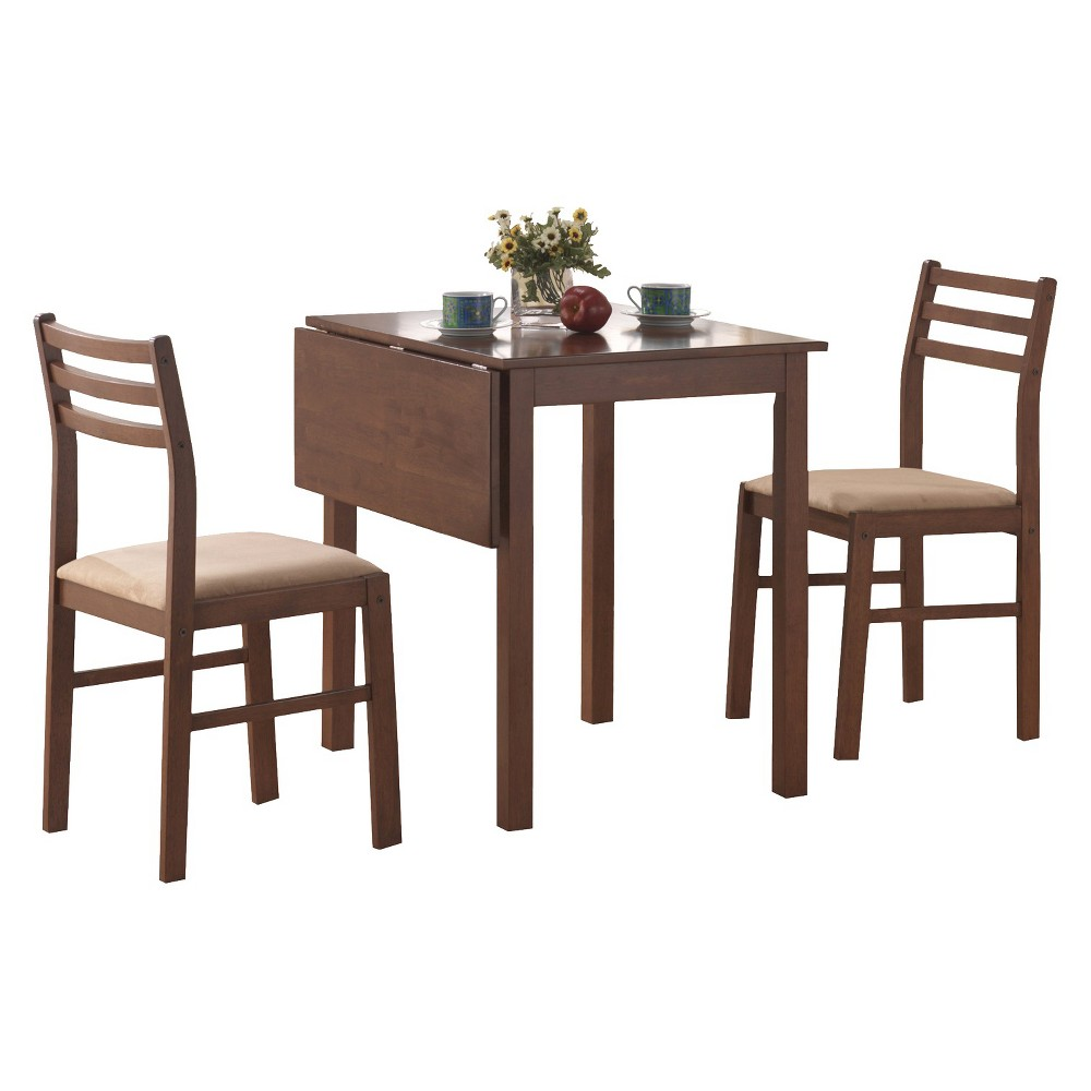 Dining Table And Chairs - 3 Piece Set - Walnut (Brown) - EveryRoom