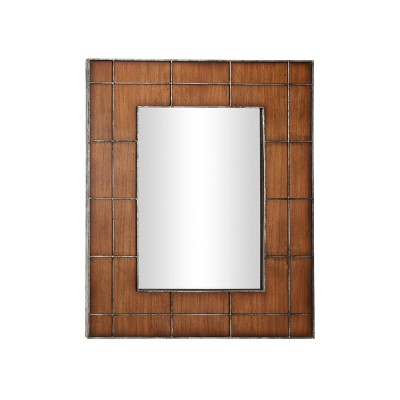 """36"""" x 44"""" Large Rectangular Wood Wall Mirror with Metal Grid Overlay Golden Brown - Olivia & May"""