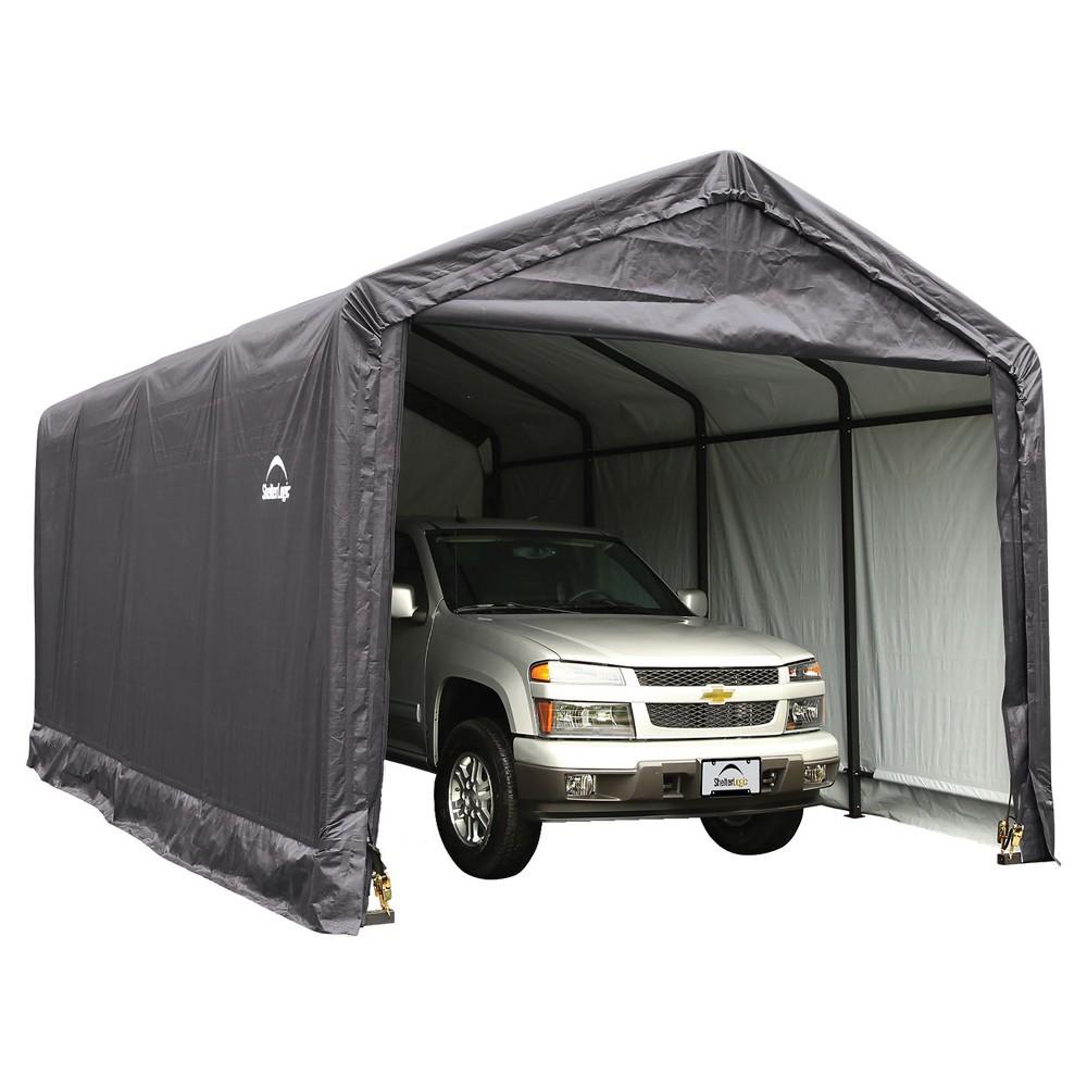 Sheltertube 12' X 20' X 11' Peak Style Garage, Shelter- Gray - Shelterlogic