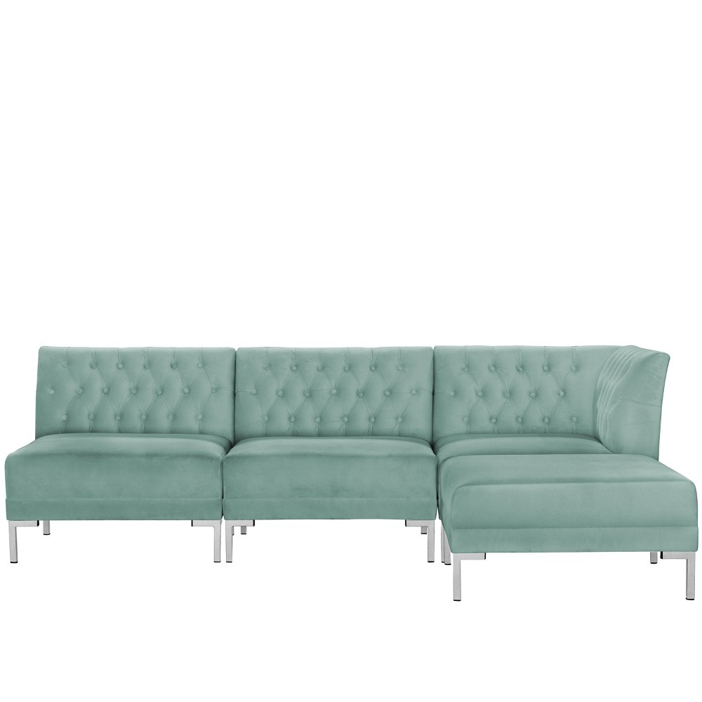 4pc Audrey Diamond Tufted Sectional Teal Velvet and Silver Metal Y Legs - Cloth & Co.