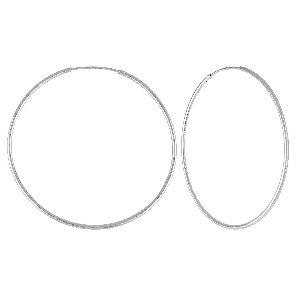 Image of Women's Endless Hoop Earrings in Sterling Silver - Silver (40mm), Size: Small