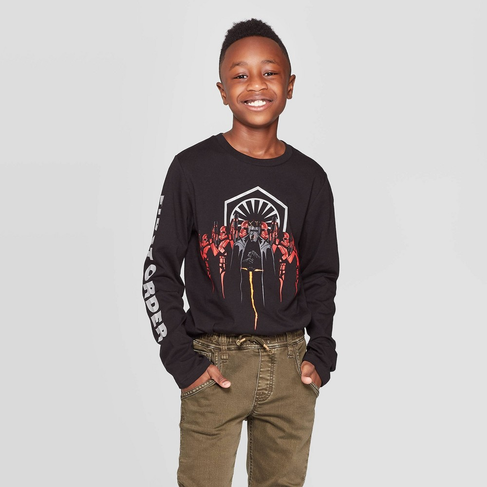 Image of Boys' Kylo Ren Star Wars Army Long Sleeve T-Shirt - Black S, Boy's, Size: Small