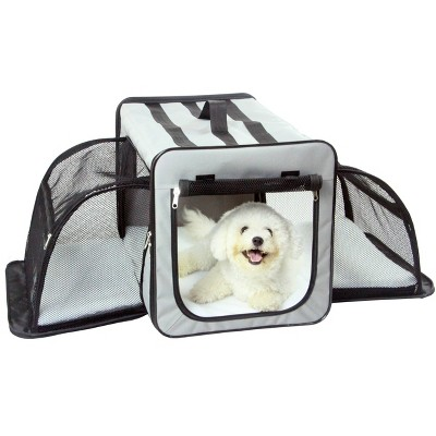 Pet Life Capacious Dual-Expandable Wire Folding Collapsible Travel Dog Crate - Gray