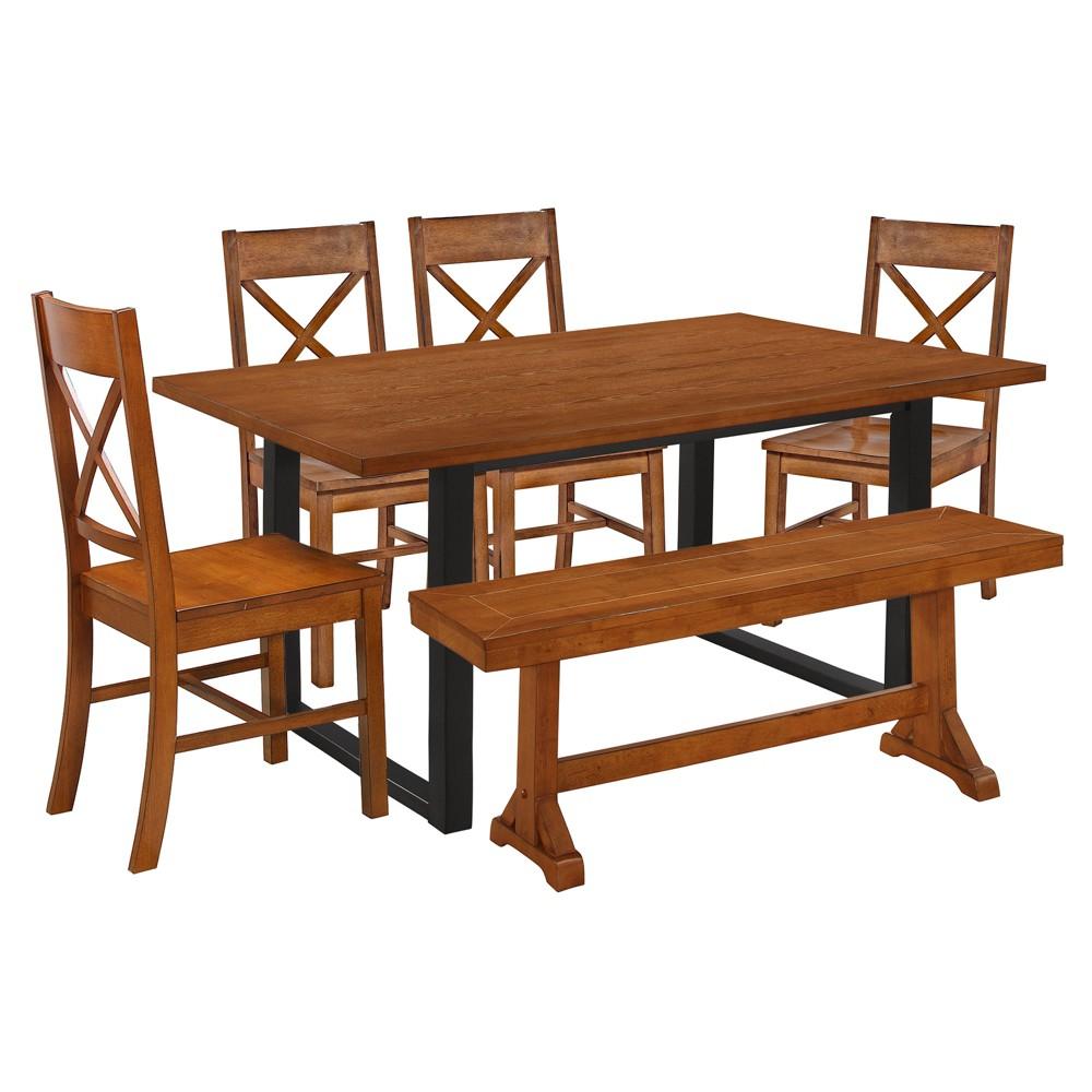6pc Madison Wood Dining Set Antique Brown - Saracina Home