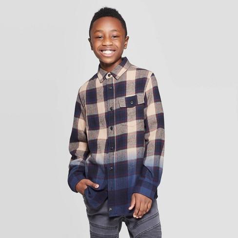 Boys' Long Sleeve Dip Dye Flannel Button-Down Shirt - art class™ Navy - image 1 of 3