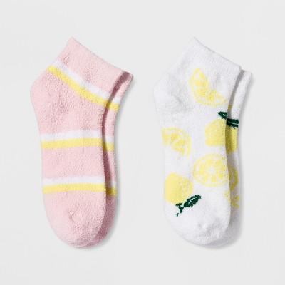 Women's 2pk Lemon Cozy Low Cut Socks - Xhilaration™ White One Size