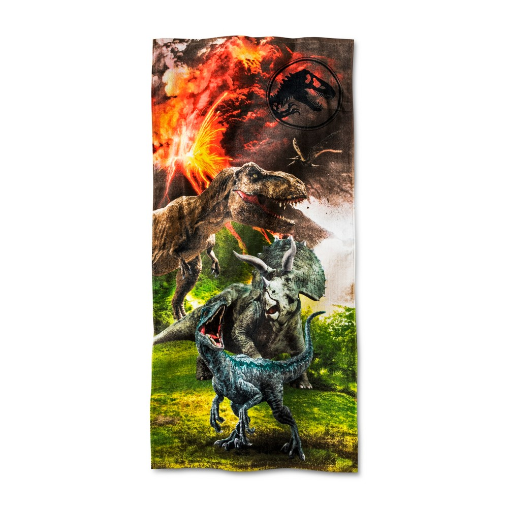 Jurassic World Beach Towel Red and Brown - Universal, Black And Yellow