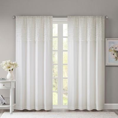 Laurie Bessie Horizontal Ruffle Curtain Panel White