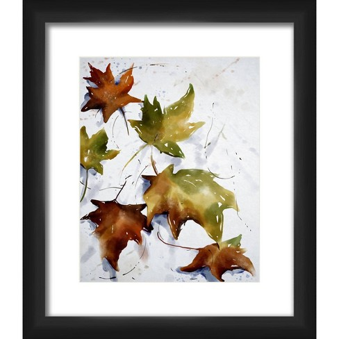 "13"" x 15"" Matted to 2"" Fallen Leaves Picture Framed Black - PTM Images - image 1 of 4"