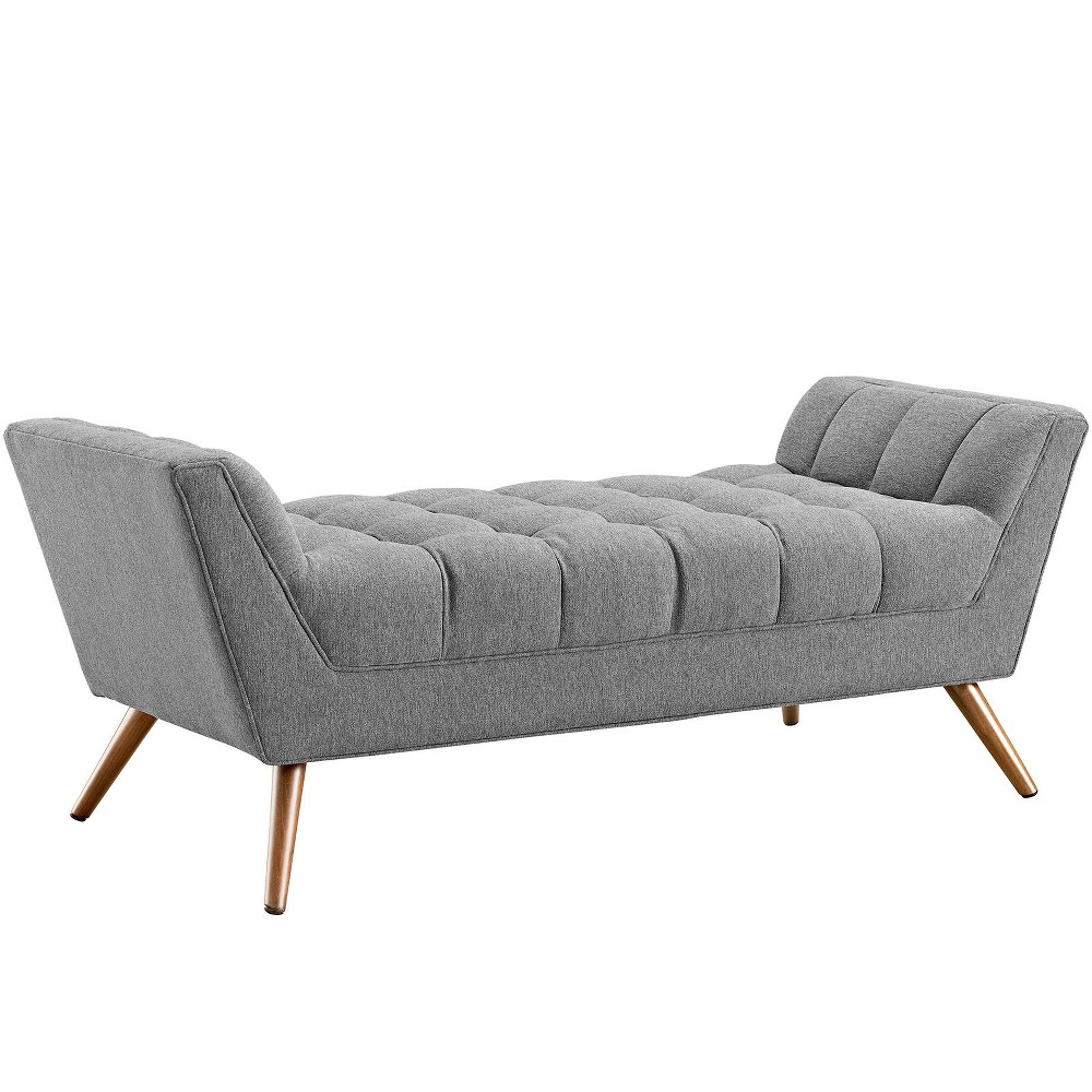 Response Medium Upholstered Fabric Bench Expectation Gray - Modway